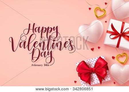 Happy Valentines Day Vector Banner. Valentines Day Greeting Card With Hearts, Gifts And Jewelries El