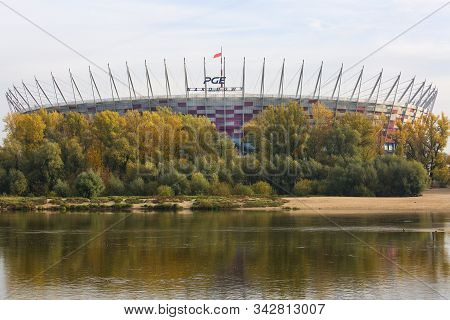 Warsaw, Poland - October 19, 2019: National Stadium ( Pge Narodowy ), Retractable Roof Football Stad