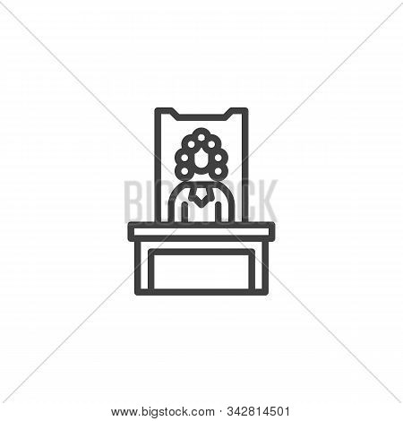 Judge In A Courtroom Line Icon. Linear Style Sign For Mobile Concept And Web Design. Judge Sitting A