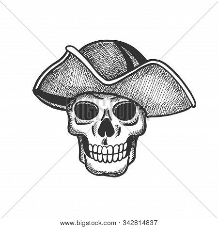 Skull Of Pirate Isolated Sketch For Tattoo Or Halloween Themes Design. Scary Skeleton With Vintage H