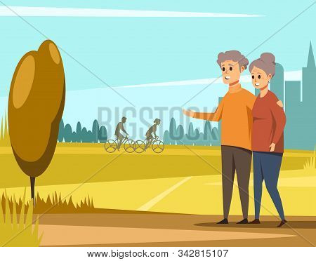 Vector Image With Elderly Couple Walking Outdoors. Old Man And Woman Walking In City Park. Senior Co