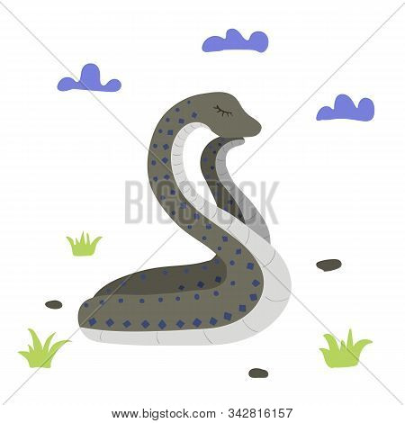 Snake, Cloud And Grass. Sweet Dreans Vector Illustration