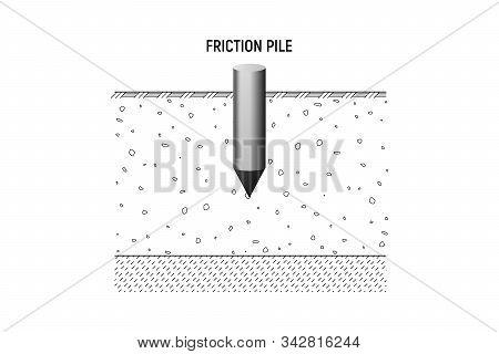 Friction Pile Bedrock. Vecor Illustration. Construction Foundation.