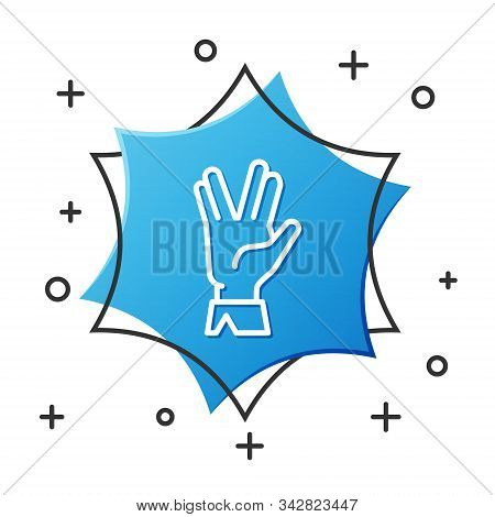 White Line Vulcan Salute Icon Isolated On White Background. Hand With Vulcan Greet. Spock Symbol. Bl