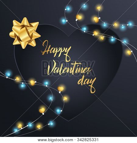 Happy Valentines Day Navy Blue Background Love Made Of Paper, Origami, Craft Style. Vector Stock Ill