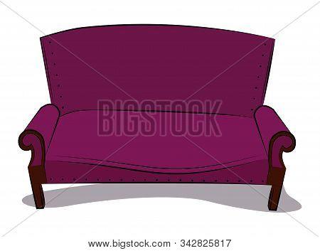 Old classic sofa in crimson velvet color.  Vector illustration. poster