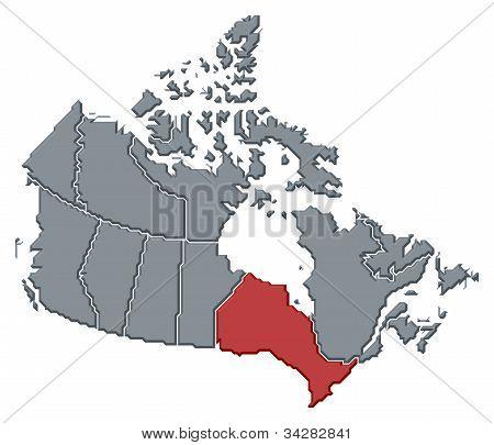 Karta över Kanada, Ontario belyst