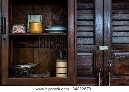 Interior Design In Thai Style With Wooden Dresser Classic And Food Container, Thai Style Architectur
