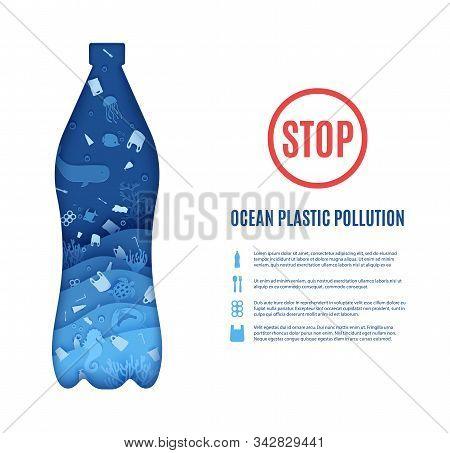 Stop Ocean Plastic Pollution Banner Design Template In Paper Cut Style. Papercut 3d Background. Bott