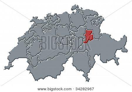 Map Of Swizerland, Glarus Highlighted