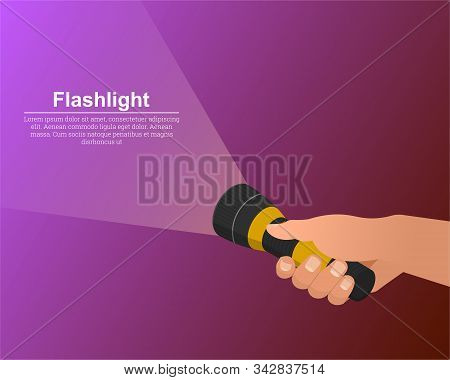 The Hand Holds The Flashlight On. The Notion Of Search. Place For Text.3d.izometric.vector Illustrat