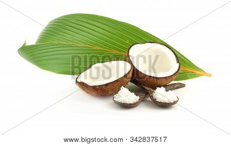 Fresh Break Coconut - Tropical Fruit And Leaves On White Background