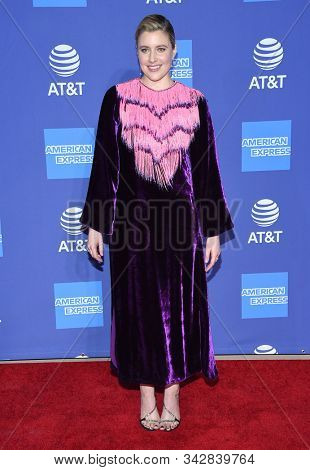 LOS ANGELES - JAN 02:  Greta Gerwig arrives for the PSIFF Awards Gala 2020 on January 02, 2020 in Palm Sprimgs, CA