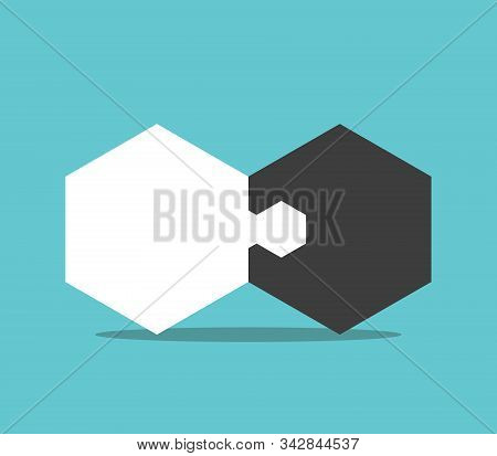 Two Hexagon Jigsaw Puzzle Pieces Joined. Opposites, Communication, Teamwork, Solution, Merging, Rela