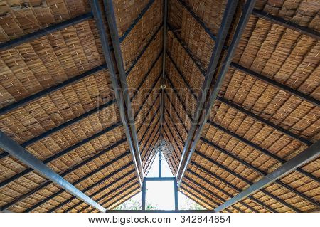Structure Of Bamboo Huts. Bamboo Hut. Bamboo Huts For Living. The Part Of The Roof Is Made Of Bamboo