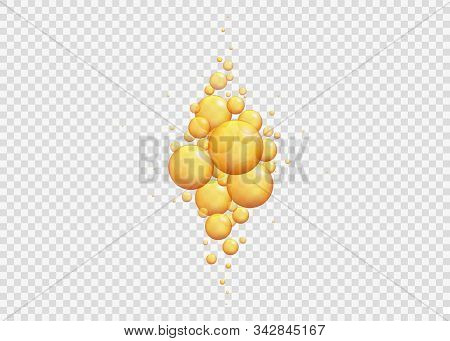 Gold Oil Bubbles.golden Balls Template. Vector Realistic Serum Droplets Of Drug Or Collagen.  Realis