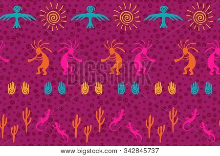Ancient Aztec Or Mayan American Vector Ethnic Tribal Motifs Seamless Pattern. Mythical Design With G
