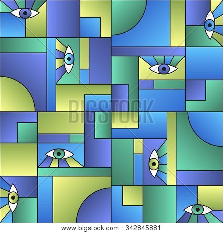 Colorful pattern with eyes in geometric shapes grid mondrian avant garde fashion textile print. Patches composition tile. Open eyes bauhaus geometric seamless pattern. Gradient vector design. poster