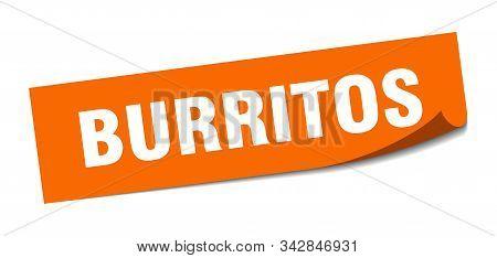 Burritos Sticker. Burritos Square Isolated Sign. Burritos