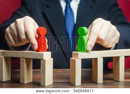 Mediator Organizes A Meeting Negotiations Between Parties Side Conflict. Establishing Contact. Truce