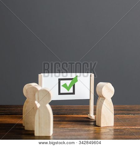 People Surrounded A Whiteboard With A Green Checkmark. Right Collective Choice, Smart Strategy And F