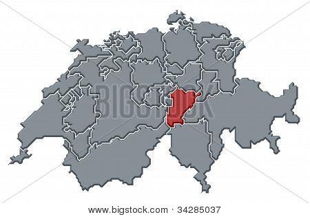 Map Of Swizerland, Uri Highlighted