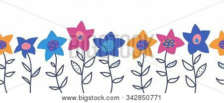 Doodle Flowers Seamless Vector Border. Cute Florals And Leaves Pattern Blue Pink Yellow Orange. Hand