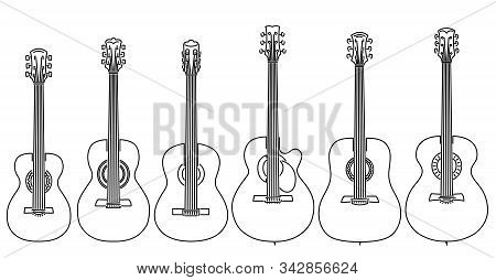 Set Of Simple Stringed Musical Instruments Classical Guitar, Acoustic Guitar, Parlor, Jumbo, Dreadno