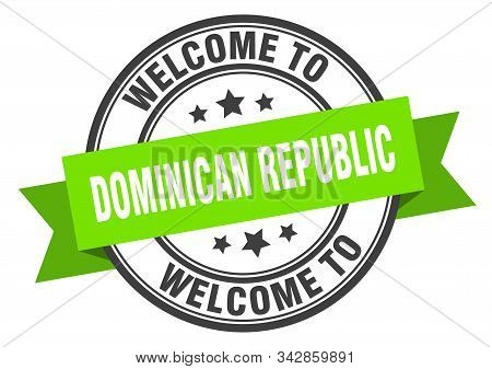 Dominican Republic Stamp. Welcome To Dominican Republic Green Sign