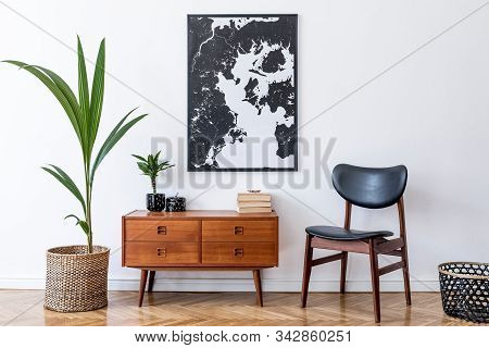 Stylish And Retro Composition Of Living Room With Design Wooden Retro Commode, Round Mirror And Eleg