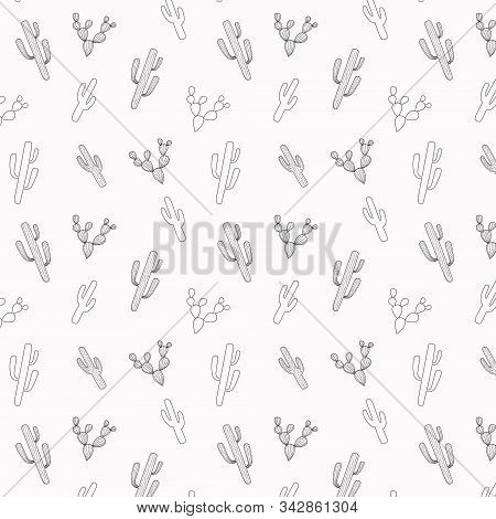 Cactus Seamless Pattern. Outline Succulents Desert Plants. Hand-drawn Cacti For Scrapbooking Paper.