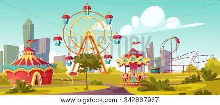 Amusement Park, Carnival Or Festive Fair Cartoon Vector Illustration. Circus Tent Arrow Pointer, Car
