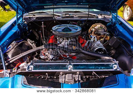 Blue Classic Muscle Car, Open Hood Close Up On Red Engine, Big Chrome Round Air Intake Filter, Tubes