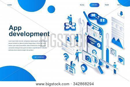 Modern Isometric Design Concept Of App Development For Website And Mobile Website Development.