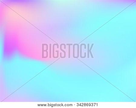 Hologram Effect Glitch Gradient Vector Design. Vivid Iridescent Mermaid Background. Hologram Colors