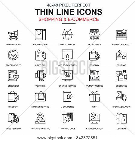 Thin Line Online Shopping And E-commerce Icons Set For Website And Mobile Site And Apps.