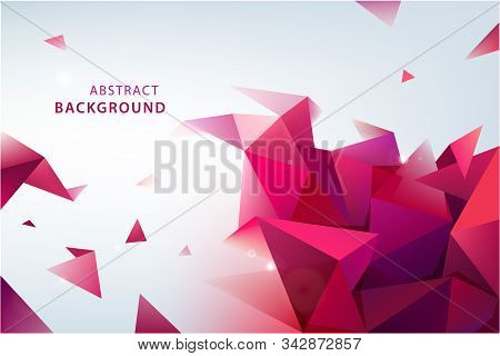 Vector Abstract Triangle Background. 3d Origami Facet Banner. Modern Wallpaper