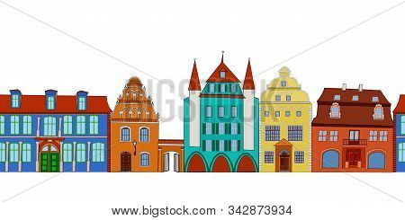 Seamless Row Pattern Of City Isolated On White Background. Street With Colorful Retro Houses, Seamle