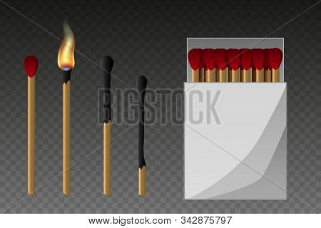 Matches, Lighted Match And Burned Match. Burning Match With Fire, Opened Matchbox, Burnt Matchstick.