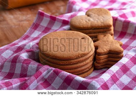 Preparation For The Holiday. Baked Gingerbread Cookies For The New Year. Gingerbread Blanks Before D