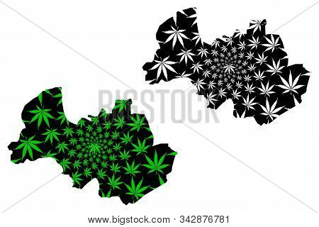 Al Bayda Governorate (governorates Of Yemen, Republic Of Yemen) Map Is Designed Cannabis Leaf Green