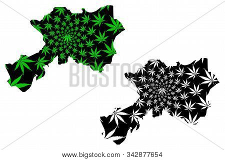 Dhamar Governorate (governorates Of Yemen, Republic Of Yemen) Map Is Designed Cannabis Leaf Green An