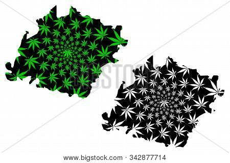 Ibb Governorate (governorates Of Yemen, Republic Of Yemen) Map Is Designed Cannabis Leaf Green And B