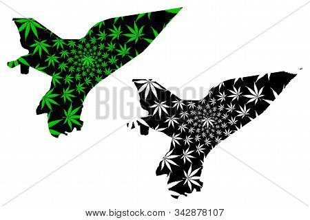 Marib Governorate (governorates Of Yemen, Republic Of Yemen) Map Is Designed Cannabis Leaf Green And