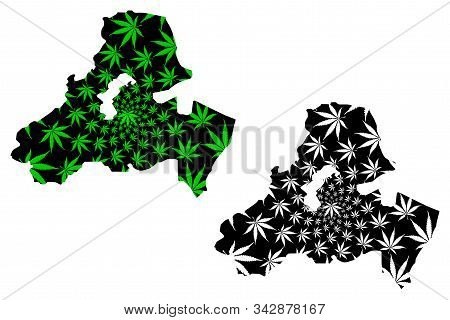Sanaa Governorate (governorates Of Yemen, Republic Of Yemen) Map Is Designed Cannabis Leaf Green And