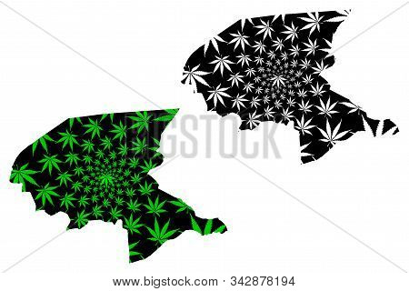 Shabwah Governorate (governorates Of Yemen, Republic Of Yemen) Map Is Designed Cannabis Leaf Green A