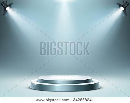 Round Podium Or Stage In Rays Of Spotlights, Realistic Vector Illustration. Pedestal For Winner Or A