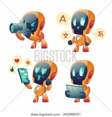 Cute Chat Bot Cartoon Vector Set Illustration. Yellow Funny Smart Conversation Robot, Assistant With