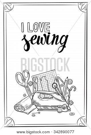 Tailor Or Dressmaker Work And Fashion Designer Atelier Sketch Items. Vector Sewing Illustration In R