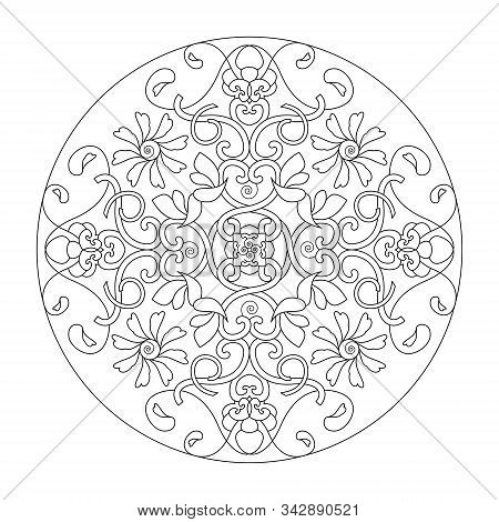 Mandala. Hearts Mandala. Coloring Page, Illustration Vector. Art Therapy. Decorative Element.